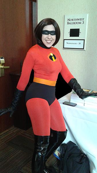 Cosplay: My friend Trisha in her ElastiGirl/Mrs. Incredible outfit.